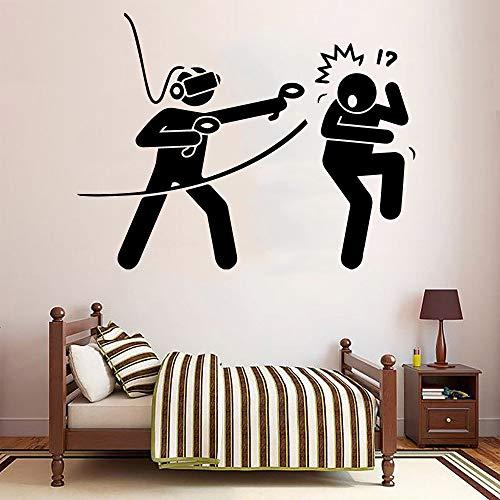 Creative VR Game Logo Sign divertido jugador pegatina de pared vinilo pared arte calcomanía niño niños dormitorio sala de juegos Club decoración del hogar Mural