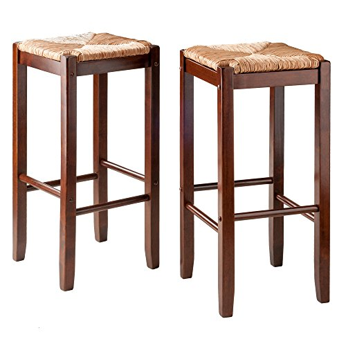 Winsome 2 Piece Bar Stools Rush Seat Kaden Set, Walnut