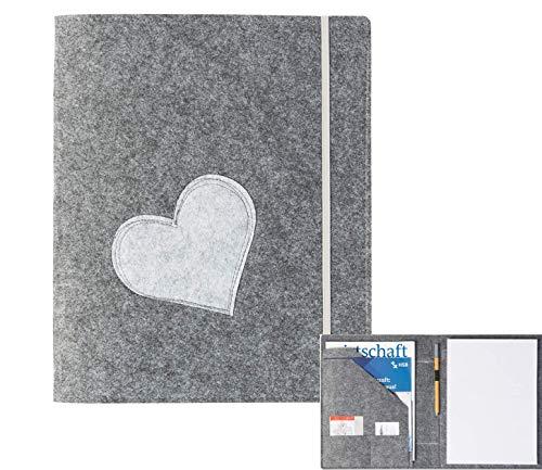 Schreibmappe A4 'Herz' aus Filz grau (Farbe wählbar), Konferenz-Mappe Organizer Ordner für Schreibblock, Dokumente, Notizen, Projekt, Business, Stifthalter