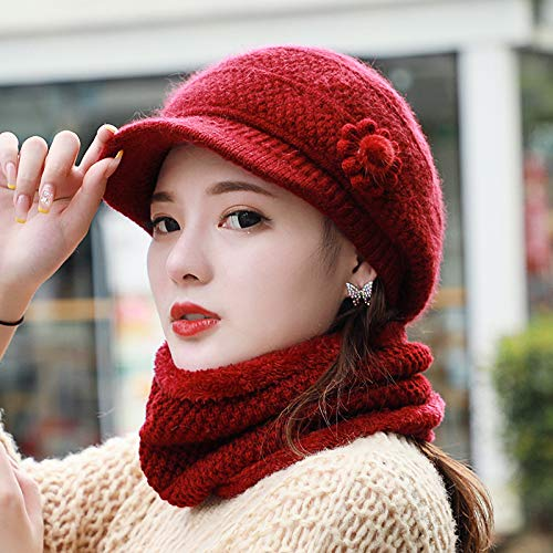 WAZHX Gorro Cálido para Mujer Gorro De Lana Tejido Protección para Los Oídos Gorro Cálido Invierno A Prueba De Viento 2