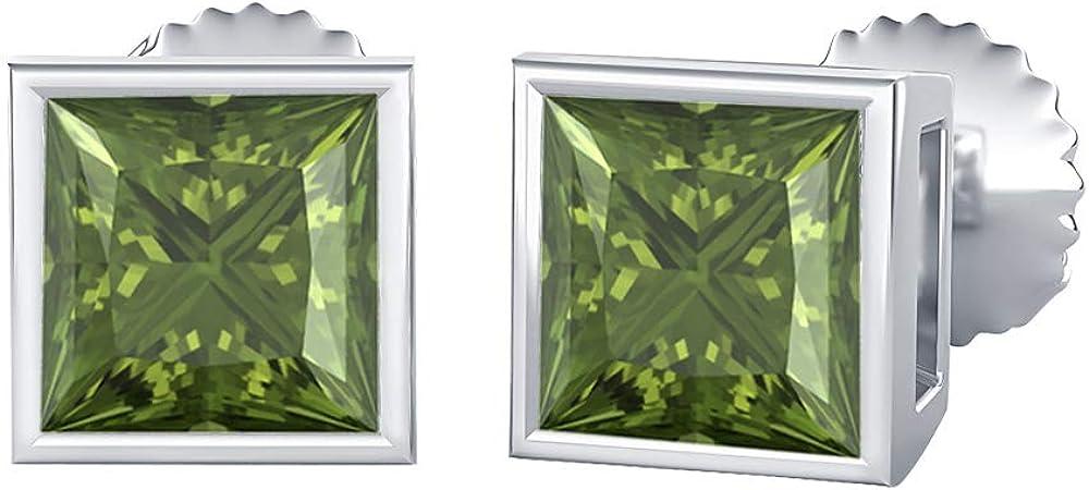 depot Max 54% OFF SVC-JEWELS Bezel Set Princess Cut Created 9MM Gemstones Solita