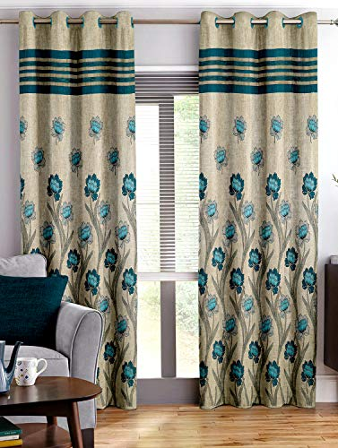 Story@Home Berry Blackout Floral Pattern Combo Set of 2 Piece Jacquard Door Curtains for Living Room and Bed Room - 7 Feet Long - Blue