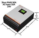 wccsolar Inversor Onda Pura 3kva 5kva Pura Hibrido 24V 48V Regulador 50A MPPT 60A Cargador 30Aamp y 60Amp (3Kva 24V Regulador 50A Cargador 30A)