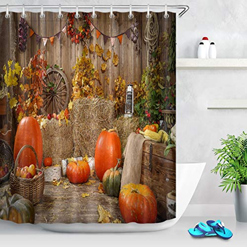 LB Harvest Theme Thanksgiving Pumpkin Shower Curtain Farmhouse Style Yellow Red Fall Leaves with Pumpkins Fall Bathroom Curtain,Waterproof Polyester Fabric 72x72 Inches with 12 Hooks