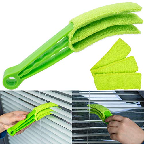 Cepillo de limpieza para persianas, estores y láminas, 1 + 1 paquete compacto, cepillo de limpieza para persianas, láminas, cepillo de polvo, cepillo para radiador, cepillo para persianas