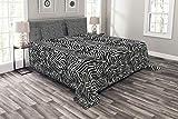 ABAKUHAUS Zebra-Druck Tagesdecke Set, Monochrome Stil Exotische, Set mit Kissenbezügen Waschbar, für Doppelbetten 220 x 220 cm, Schwarz-Weiß