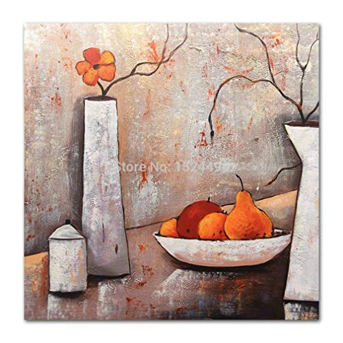 Handbeschilderd olieverfschilderij, abstracte plant, in een vaas met rode bloemen, rood, parel, modern, groot, handbeschilderd, voor woonkamer, eetkamer, slaapkamer, Ofi 100×100cm