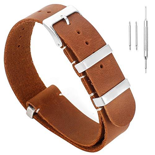 20mm marrone in stile pelle vintage sostituzione cinturino artigianale per gli uomini del cuoio di cavallo pazzo