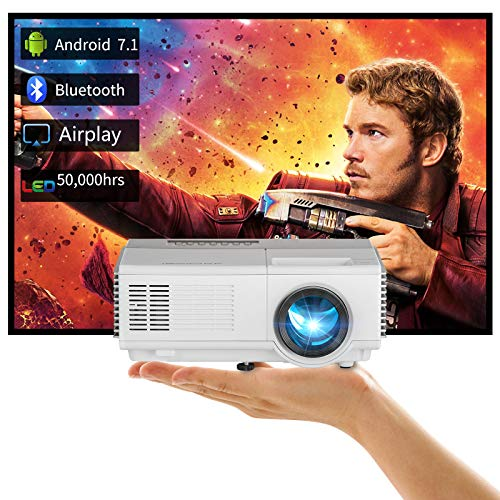 Wireless Mini Projector LED 3000lumen Portable Bluetooth Home Cinema Theater Projectors 1080P 720P Support, Sync Smartpone Screen via WiFi Projectors with HDMI USB AV Speakers