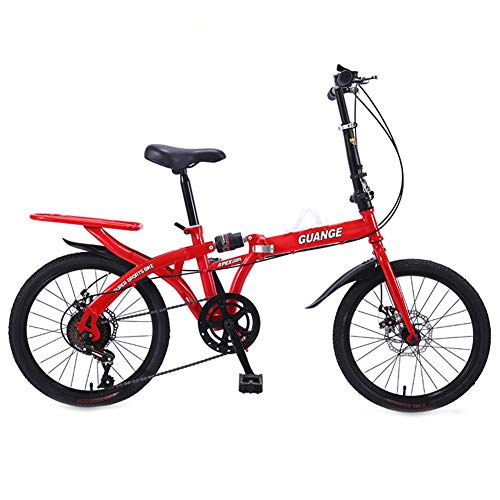 Dybory 20-Zoll-Faltgeschwindigkeitsfahrrad, Student-Faltrad Für Männer Und Frauen Faltgeschwindigkeits-Fahrraddämpfung, Doppelscheibenbremsen,Rot