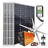 1360W Wind Turbine Generator Kit with 24V 3000W Peak 6000W Power Inverter & 8pcs 120W Mono Solar Panel & Hybrid Charge Controller...