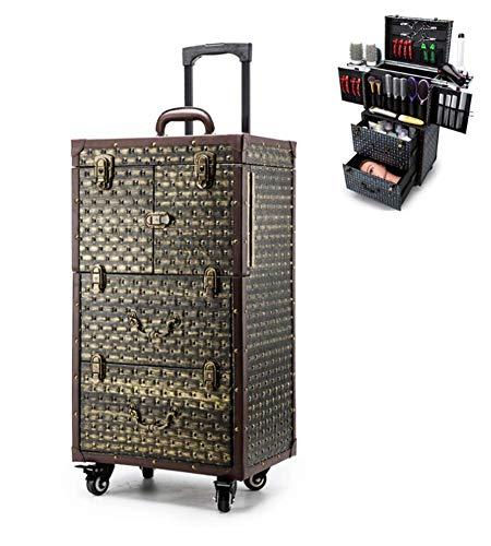 Trolley Maquillage Roue De Frein Roulant Valise Spéciale Coiffeur Décoration Cuir + Rivet Support De Sèche-Cheveux Ciseaux Multifonctions, 40X28x76cm,Gold