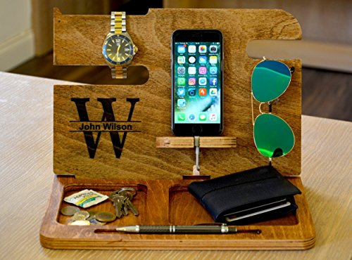 Night Stand Wood Valet Iphone Charging Station Mens Wood Valet Personalized Valet Groomsmen gift Night Stand Gift for husband Docking