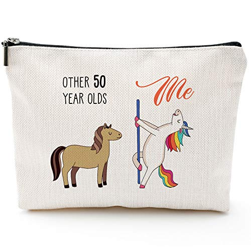 50th Birthday Gifts for Women - 1971 Birthday Gifts for Women, 50 Years Old Birthday Gifts Makeup Bag for Mom, Wife, Friend, Sister, Her, Colleague, Coworker(Makeup bag-50th Unicorn)