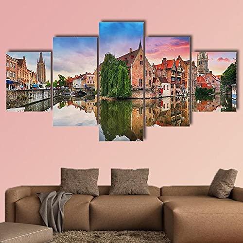 Brugge Dramatische Zonsondergang België Muurschildering Afbeeldingen Afdrukken op Canvas De foto voor Home Moderne Decoratie 5-delig houten frame klaar om op te hangen