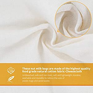 """Nut Milk Bags, All Natural Cheesecloth Bags, 12""""x12"""", 2 Pack, 100% Unbleached Cotton Cloth Bags for Cheese/Tea/Yogurt/Juice/Wine/Soup/Herbs, Durable Washable Reusable Almond Milk Strainer(Weave 66x70) 