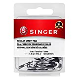 SINGER 00296 Black and White Safety Pins, Assorted Sizes, 25-Count