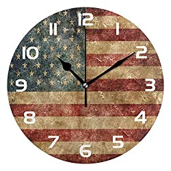 Dozili Retro American Flag Decorative Wooden Round Wall Clock Arabic Numerals Design Non Ticking Wall Clock Large for Bedrooms, Living Room, Bathroom