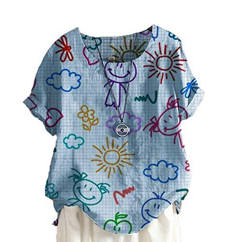 Camisa de Nubes de Dibujos Animados para Mujer Blusa con Estampado gráfico Rollo de Manga Corta Cuello Redondo Camisetas Divertidas Summer Teen Girls S-XXXXL