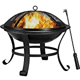 """YAHEETECH 22"""" Fire Pit Outdoor Steel Wood Burning Fire Pits BBQ Grill Firepit Bowl with Log Grate Fire Poker for Backyard Bonfire Patio Camping Beach Picnic"""