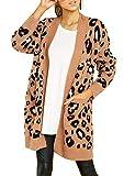 Cárdigan para Mujer Suéter con Estampado de Leopardo Cárdigan Suelto y de Moda Manga Larga Bolsillos en Ambos Lados Abrigo cálido de otoño e Invierno (T1, S)