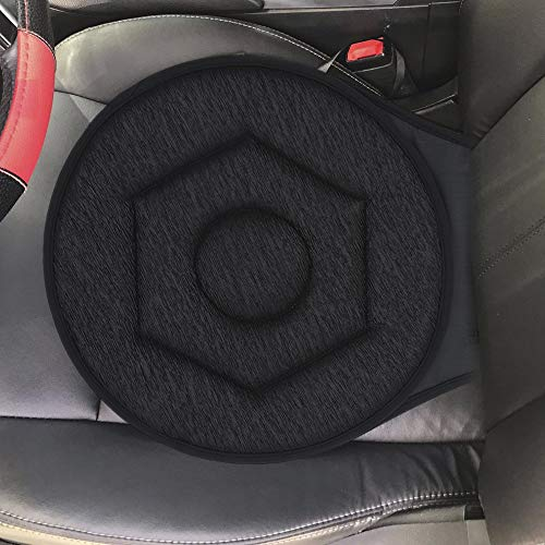 360° Rotating Car Seat Cushion 42cm Portable Auto Swivel Cushion Seat with Anti-Slip Base Ideal for Car Seat/Home/Office/Chairs (Black)