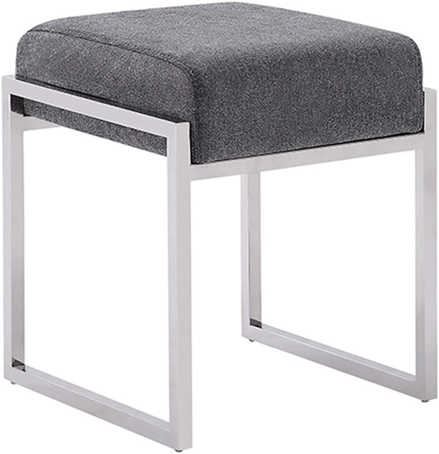 Footstool Metal Cloth Doorway Change shoes Bench Simple Bedroom Dressing Stool, 8 colors GFMING (color   E, Size   370x425x450mm)