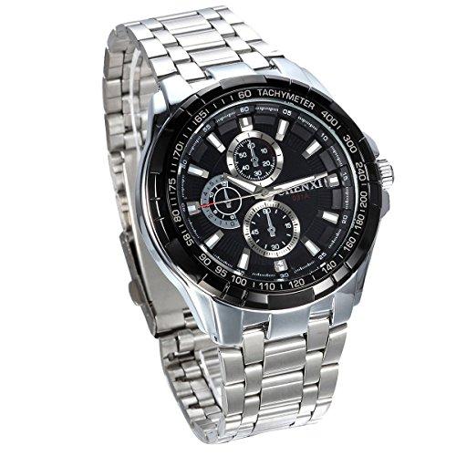JewelryWe Herren Armbanduhr, Analog Quarz, Klassische Fashion Business Casual Sport Uhr mit Edelstahl Armband Vatertagsgeschenk