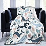 Cute Whale Flannel Fleece Blanket, Jellyfish Shell Starfish Soft Microfiber Cozy Lightweight Sofa Travel Blanket for Baby, Kids, Youth (40 50 Inch)