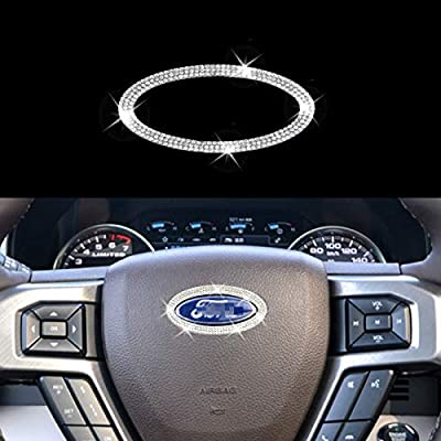 Bling Bling Car Steering Wheel Decorative Diamond Sticker Fit For Ford,DIY Bling Car Steering Wheel cover Emblem Bling Accessories for All Ford 2012-2021? soft base?Non-metal?