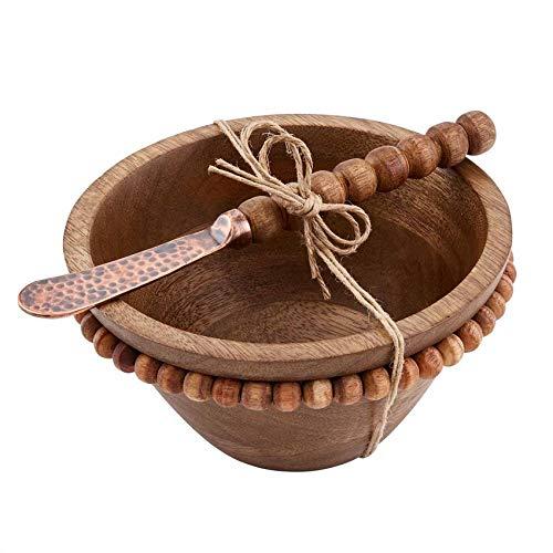 Mud Pie 48500130 - Juego de tazas de madera con cuentas, mango, color marrón