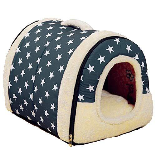 LLYU Nido del Animal doméstico Suave patrón de Estrella Caliente Antideslizante Perro Gato Cama Plegable de Invierno Suave y cómodo Saco de Dormir Almohadilla (Tamaño : L)