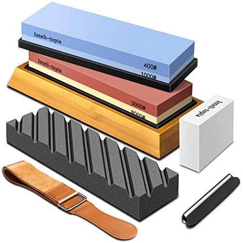 Complete Knife Sharpening Stone Set – Dual Grit Whetstone 400/1000 3000/8000 Premium Whetstone Knife Sharpener with Leather Strop, Flattening Stone, Bamboo Base, 3 Non-slip Rubber Bases & Angle Guide