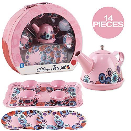 deAO Juego de Té en Maletín Portátil Conjunto Infantil de 14 Piezas Incluye Tetera, Platos y Tazas Diseño Metálico de Imitación Maleta Picnic (Rosa)
