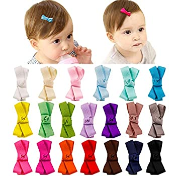 20Pcs Baby Hair Clips Girls Hair Bows Fully Lined Barrettes Hair Accessories for Baby Girl Infants Toddlers Kids