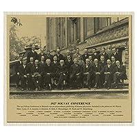 ジュネーブ会議偉大な科学者グループ写真メモリクラシックヴィンテージポスターキャンバス絵画DIYアートホームバーポスター装飾、50x70cm(フレームなし)