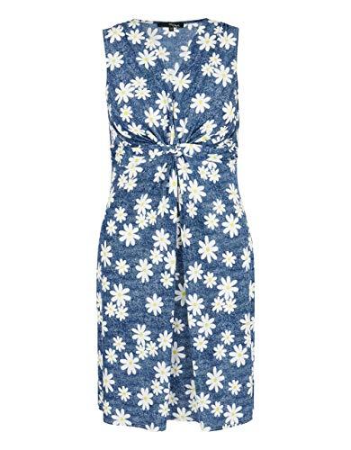 My Own by Adler Mode Damen Kleid mit Allover-Flower-Denim-Print blau/weiß/gelb 44