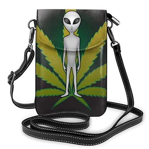 Lilyo-ltd ET und Cannabis Umhängetasche für Handys, mit Blättermotiv