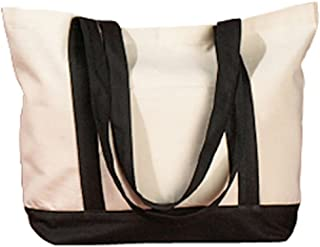 BAGedge BE004 Unisex Adult 12 oz. Canvas Boat Tote Natural/Black One Size