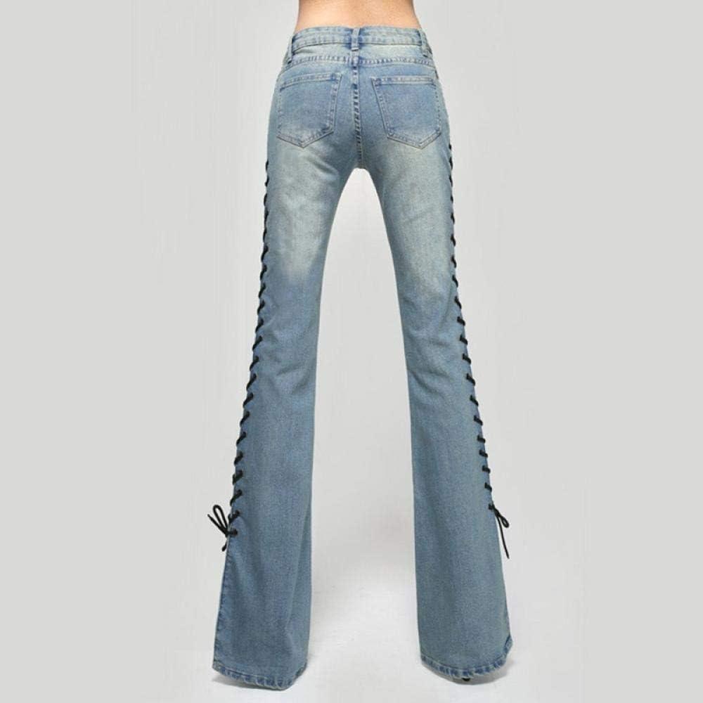Jeans Taille Haute pour Femmes à Lacets Vintage Maman Jeans Femme Skinny Casual Flare Pantalon Femme Pantalon Femme Mode Pantalon A