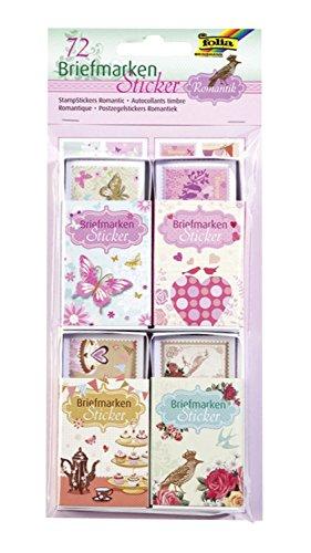 folia 1480 - Briefmarkensticker Romantik, 72 Sticker in 24 Designs - dekorative Sticker im Briefmarken Design