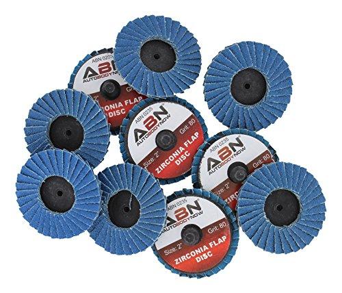 ABN 2in T27 80 Grit High Density Zirconia Alumina Flat Flap Disc Roloc Roll Lock Grinding Sanding Sandpaper Wheels 10 PK