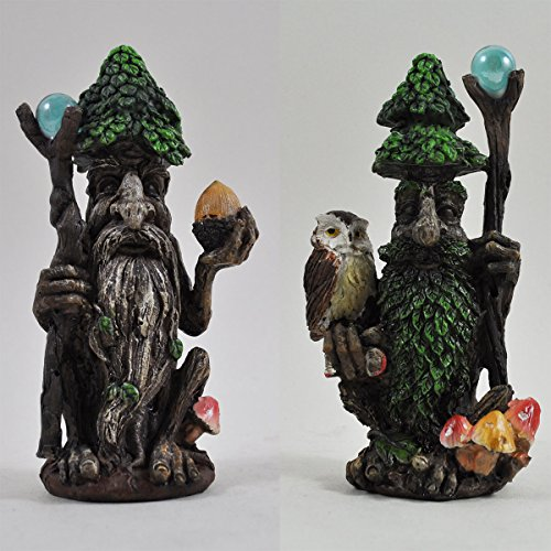 Paire de statue Ent Greenman sculptée en forme d'arbre de 14 cm de hauteur pour décoration de jardin