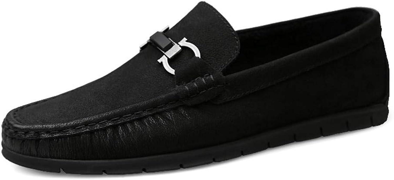JIALUN-Schuhe Herren Komfortable modische Driving Loafer Loafer Echtes Leder Slip on Moccasins Outdoor-Freizeitschuhe (Farbe   Schwarz, Größe   43 EU)  Online-Mode einkaufen