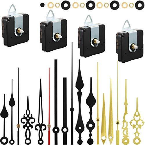 4 Stücke uhrwerk für wanduhr uhrwerk mit zeiger DIY Uhrwerk Mechanismus uhrwerke für wanduhr lautlos quarzuhrwerk mit zeiger mit 6 Uhrzeiger Sets zum Reparatur Ersatzteilen (13 mm)