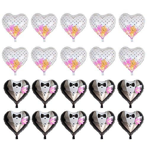 SM SunniMix 20x Herzform Folienballon Luftballon mit Brautkleid und Bräutigem Kleidung Muster für Hochzeit