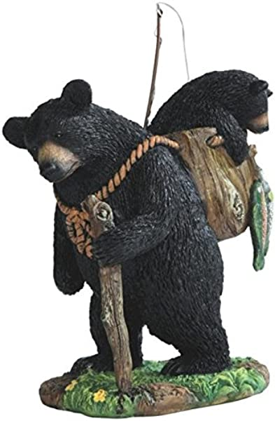 StealStreet SS G 54290 Black Bear Fishing With Cub Figurines 7 5