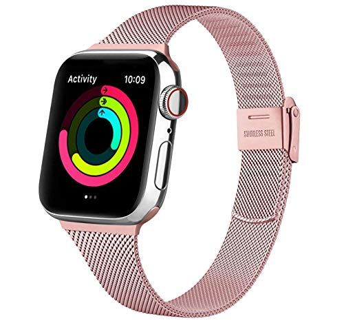 Wanme Cinturino per Apple Watch Cinturino 38mm 40mm 42mm 44mm, Metallo Sottile Cinturini Compatibile con Apple Watch iWatch Series 6 5 4 3 2 1 SE, con Strumenti (Rosa 38/40MM)