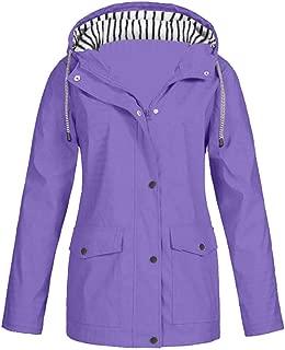 Bravetoshop Women's Waterproof Raincoat Outdoor Hooded Rain Jacket Windbreaker