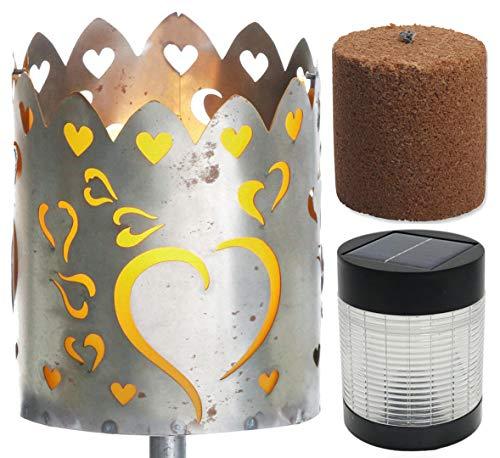 Novaliv Gartenfackel Herzen Feuerschale Metall mit Stiel Brennmittel Solarlampe LED